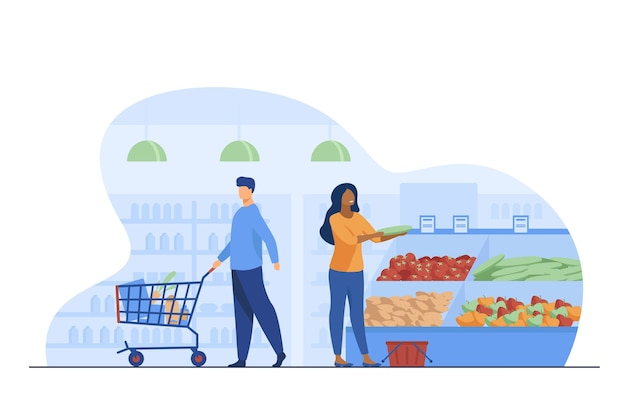 식료품 점에서 제품을 선택하는 사람들. 트롤리, 야채, 바구니 평면 벡터 일러스트 레이 션. 쇼핑 및 슈퍼마켓 개념