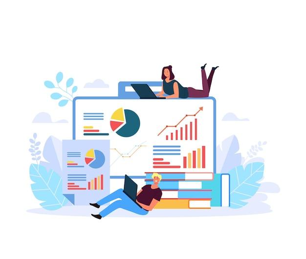 Персонаж людей анализирует бизнес-результаты иллюстрации