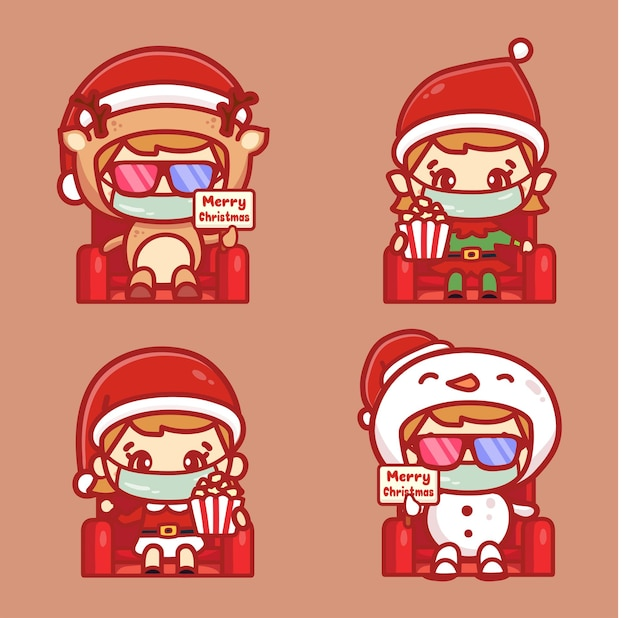 People christmas character wear medical mask watching movie. new normal concept in cinema theatre during christmas.