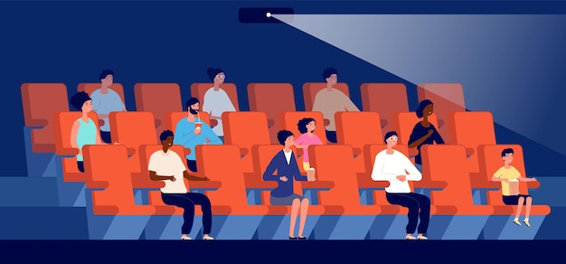 People in cinema. movie theater, multicultural audience watch film. little viewers, couple sit on red seat in auditorium vector illustration. cinema theater entertainment, auditorium theatre