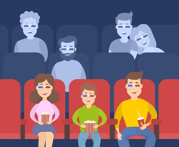 People in cinema theater. people watching film and eating.