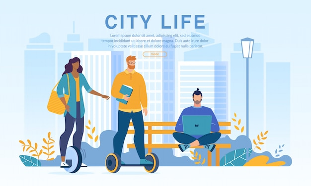 People city dwellers in park on eco transport web template