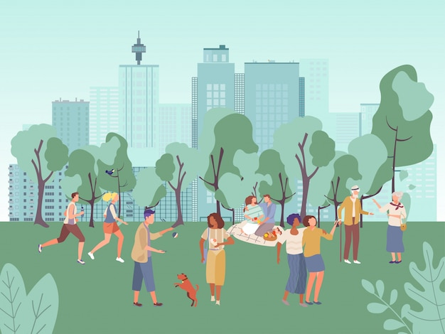 People in city park illustration, cartoon flat woman man characters have fun on picnic, walk or run in healthy sport activity