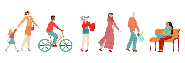 People in city, pedestrians flat set of muslim woman, old man shopper, bicyclist and mother with daughter girl isolated on white   illustration.