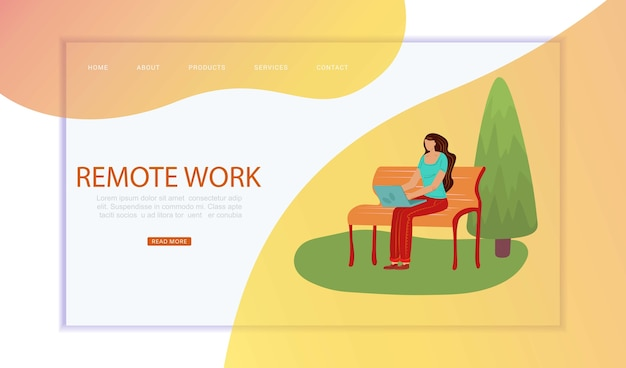 People in city, remote work, inscription on web , remote, work through network,    illustration. human freelancer, work through internet in park, young woman freelance online.