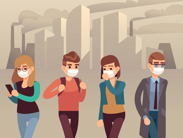 人々の街のスモッグ。男性女性保護フェイスマスク産業スモッグダスト汚染有毒空気有害環境、フラットコンセプト