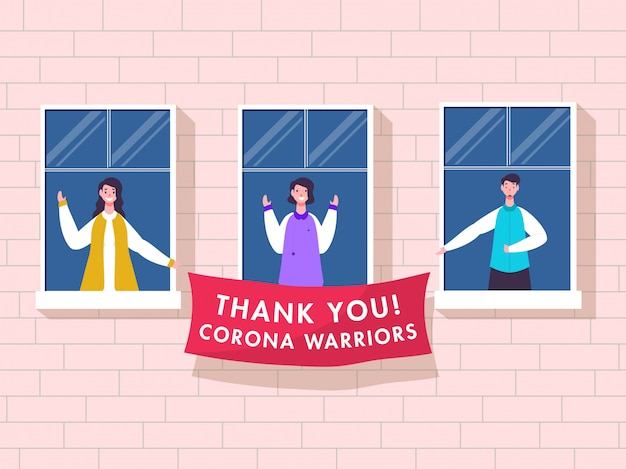 People clapping to appreciate and holding thank you corona warriors banner from balcony or window on pink brick wall background.