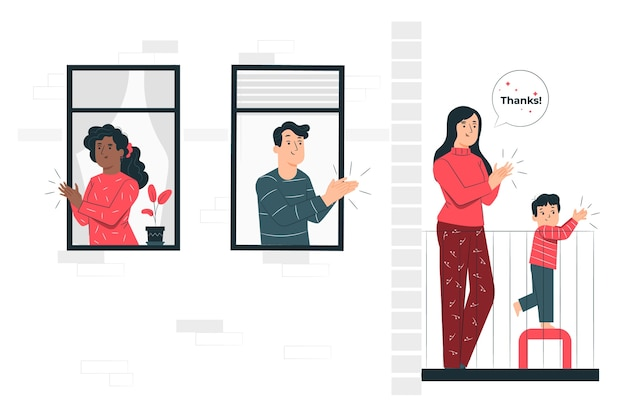 People clapping on balconies concept illustration
