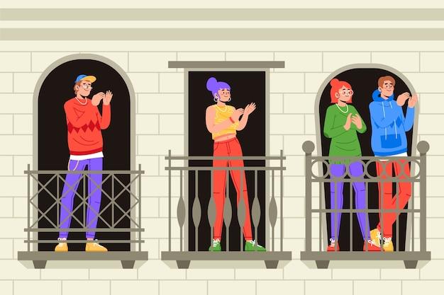 La gente applaude sui balconi