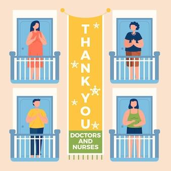 バルコニーで拍手する人々はありがとうcovid-19コンセプトをありがとう