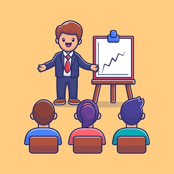 People class and workshop cartoon vector icon illustration. people education icon concept isolated premium vector. flat cartoon style