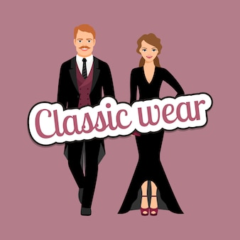 People in classic evening fashion outfit