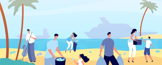 People clean beach. man cleaning nature, volunteers save environment waterfront. ocean coast ecology, plastic trash garbage vector concept. people beach volunteer, woman and man activist illustration