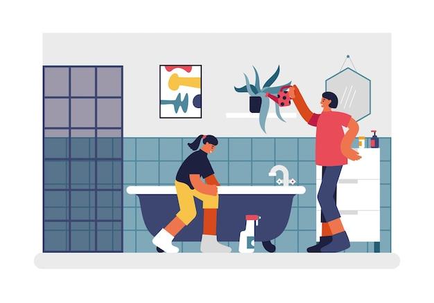 人々は浴室のイラストを掃除します。赤い缶の女性キャラクターは棚に花に水をまきます。 10代の少女はお風呂を徹底的にきれいに洗います。毎週の家とアパートのクリーニングベクトルフラット。
