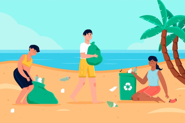 People cleaning beach concept