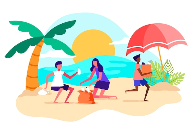 People cleaning beach flat design illustration