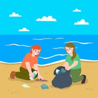 People cleaning beach of garbage