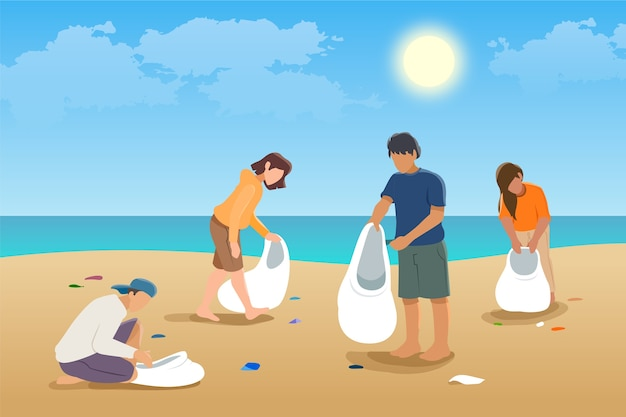 People cleaning the beach illustration concept