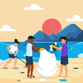 People cleaning the beach illustration