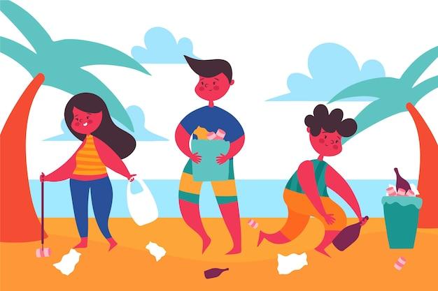ビーチのイラストを掃除する人々