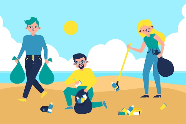 People cleaning beach illustration