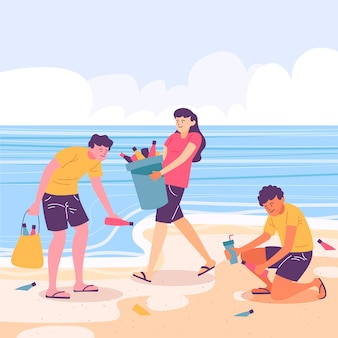 People cleaning beach of rubbish