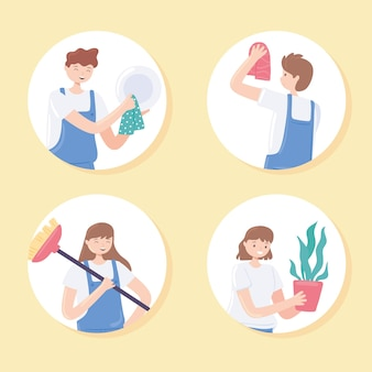 People cleaning home activities