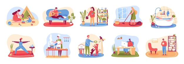 People cleaning home, cooking, taking bath, playing with pets, practicing yoga