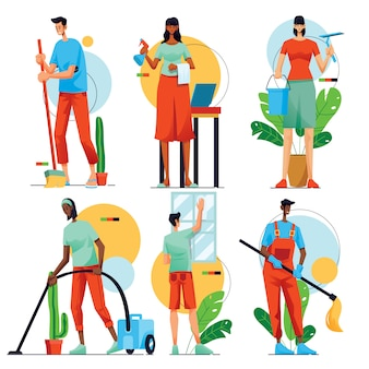 People cleaning home vaector illustration collection