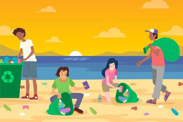 ビーチでジャンクを掃除する人々