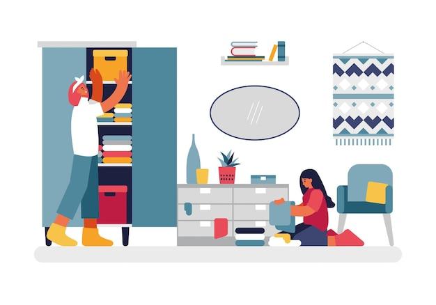 部屋のイラストを掃除する人々。女性キャラクターはクローゼットの中の洋服の引き出しを仕分けして掃除しています。床に座っている10代の少女は、色のものをきれいに積み重ね、タオルは平らにベクトルします。