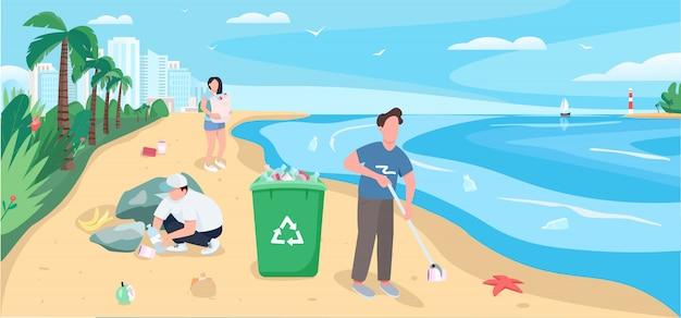 Люди убирают песчаный пляж плоские цветные рисунки