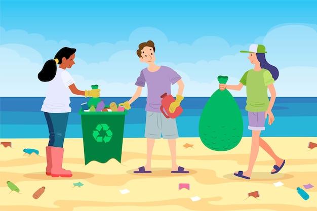 쓰레기에서 해변을 청소하는 사람들