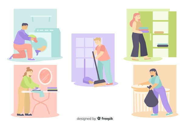 Люди убирают свой дом в свободное время Бесплатные векторы
