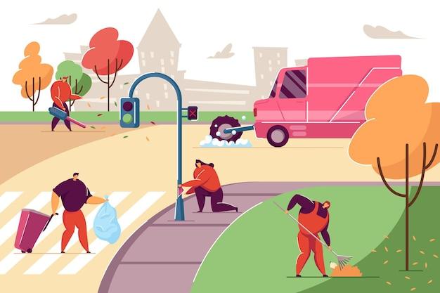街の通りのゴミを片付ける人。スプリンクラー-スイーパー-コレクターの洗浄道路、女性用務員が葉を掃除、ゴミ箱とゴミ箱を運ぶ男フラットベクトルイラスト。ボランティアのクリーンアップの概念