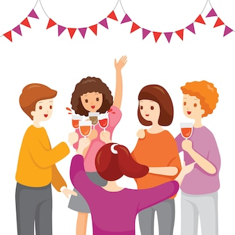 グラスをチリンと鳴らし、祝い、パーティーで一緒に飲む人々