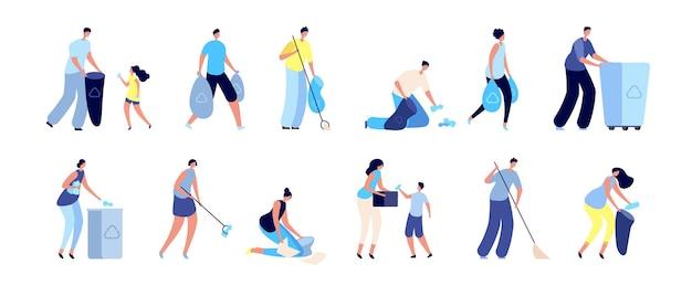 사람들은 쓰레기를 수집합니다. 쓰레기 재활용, 쓰레기통이 있는 가족. 쓰레기 분리수거, 환경 벡터 세트를 돌보는 남자 여자. 일러스트 쓰레기 쓰레기 수거, 안전한 생태