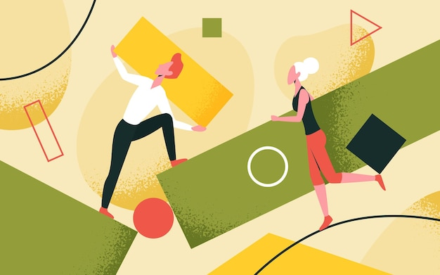People collect scattered abstract geometric shapes teamwork vector illustration cartoon man woman