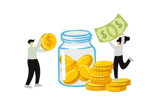 Люди собирают и экономят деньги в концепции заработка в стеклянной банке