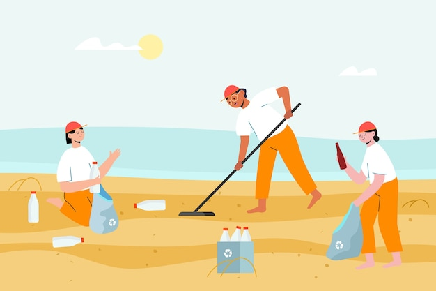 People collecting the garbage from the sand
