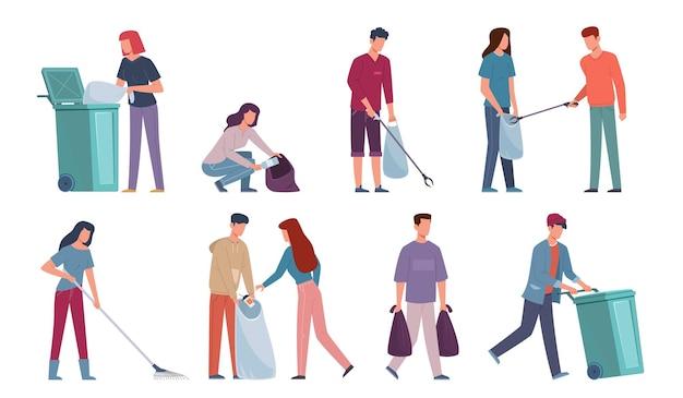 쓰레기를 수집하는 사람들. 쓰레기통, 쓰레기 수거통, 용기, 청소 환경, 자원 봉사자 보호 자연 벡터 평면 만화 개념에서 재활용 폐기물을 분류하는 남녀
