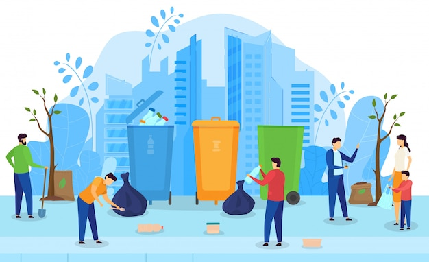 People collecting and recycling garbage, clean city environment activist campaign,  illustration