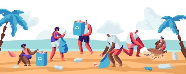 해변에서 가방에 쓰레기를 수집하는 사람들. 다양한 종류의 쓰레기로 인한 해변 오염. 자원 봉사자들이 오션 코스트의 폐기물을 청소합니다. 생태 보호 개념 만화 평면 벡터 일러스트 레이 션