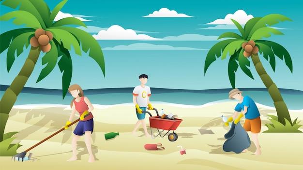 해변에서 가방에 쓰레기를 수집하는 사람들