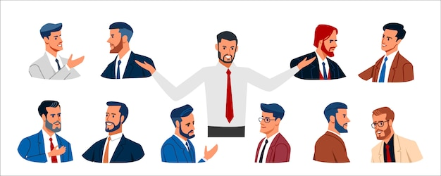 People collection business. set of various business men in business clothes, mixed age expressing positive emotions