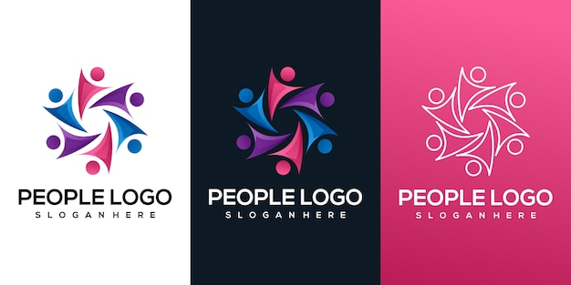 People colorful gradient logo
