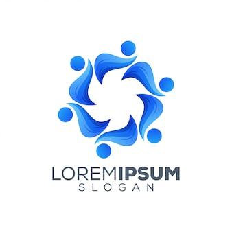 People colorful logo design template