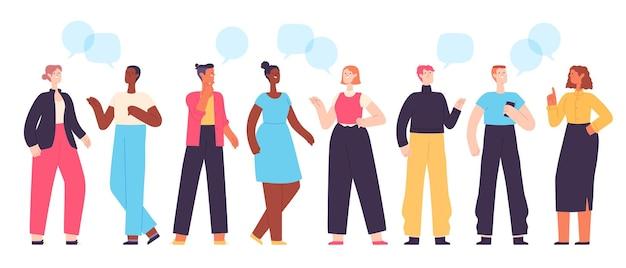 人々はコミュニケーションします。チャットや会話の多様なキャラクター。対話の吹き出しを持つフラットな学生。社会的な会話ベクトルセット。イラスト会話とコミュニケーション、女の子の男の子とおしゃべり