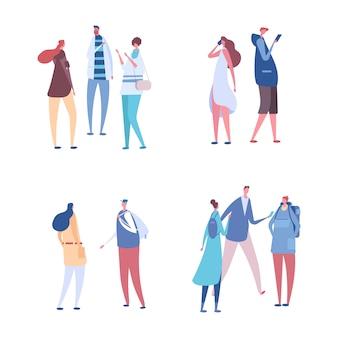人々はグループベクトルセットで通信します。コミュニケーション、ディスカッション、会議のイラスト
