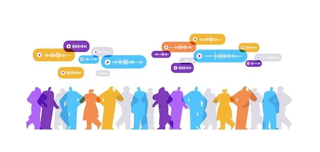 사람들은 음성 메시지 오디오 채팅 응용 프로그램 소셜 미디어 온라인 통신 개념 가로 전체 길이 벡터 일러스트 레이 션으로 인스턴트 메신저에서 의사 소통